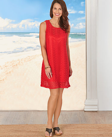 Fully Lined Lace Dress- Red