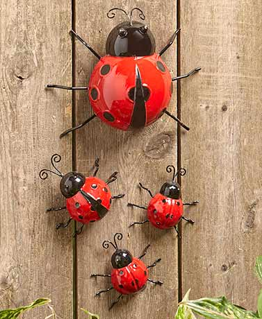Set of 4 Metal Garden Bugs - Ladybugs