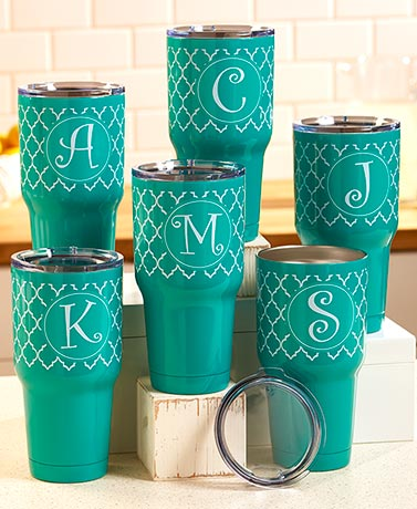 Izzie™ 30-oz. Stainless Steel Monogram Tumblers