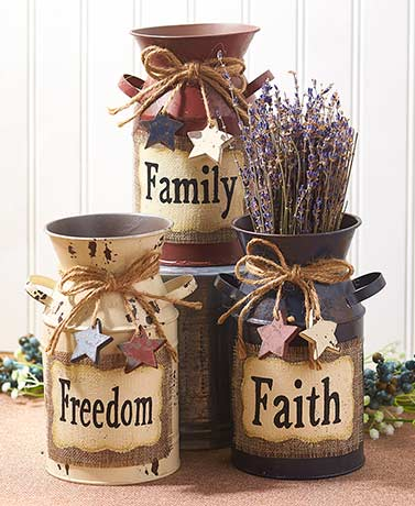 Americana Decorative Milk Cans