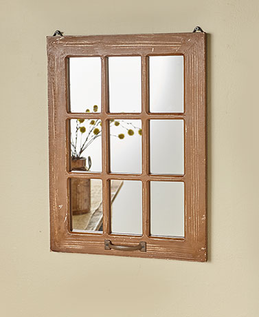 Distressed Wood Windowpane Mirrors - Natural