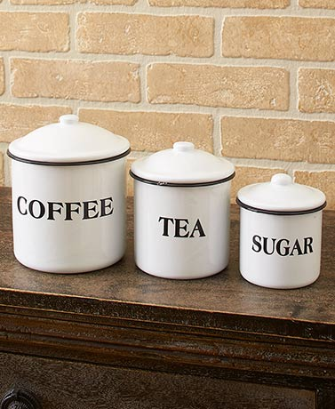 Country Enamelware Canisters