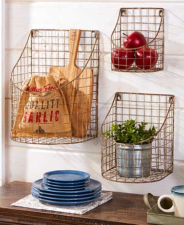 Set of 3 Rustic Farmhouse Wall Baskets