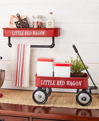 Vintage Red Wagon Decor