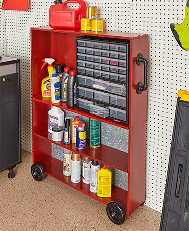 Industrial Garage Cart - Red