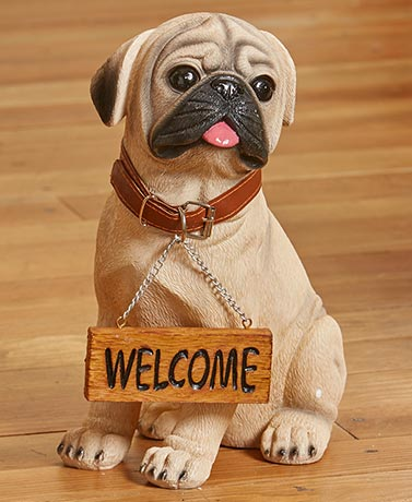 Welcome or Beware Dog Breed Statues - Pug
