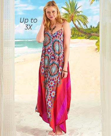 Tropical Colored Breezy Scarf Dress - Medallion