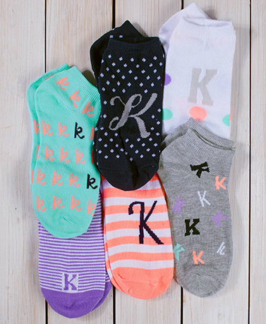Women's 6-Pair Low-Cut Monogram Socks