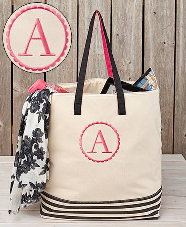 Oversized Canvas Monogram Zipper Tote Bags