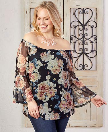 Women's Plus Off-the-Shoulder Tops
