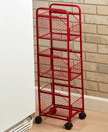 Country Farmhouse Slim Storage Cart - Red