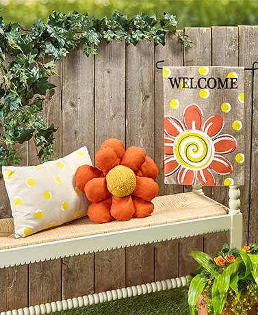 Flowery Welcome Flag or Outdoor Pillows