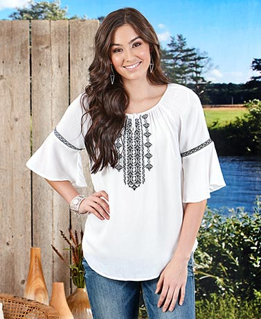 Embroidered Ruffle Sleeve Peasant Blouses