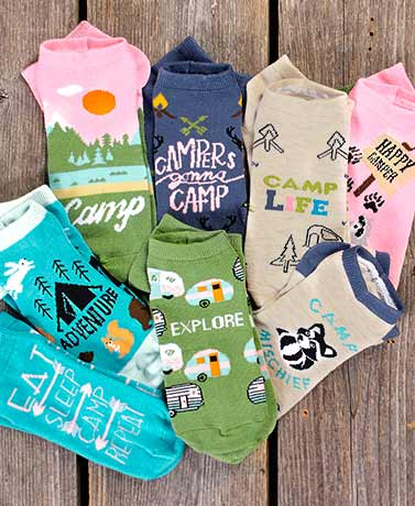 Happy Camper Fashion Accessories - 8-Pair Socks