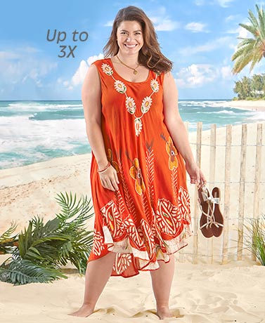 Embroidered Sleeveless Dress - Burnt Orange