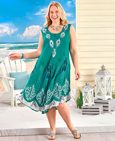 Embroidered Sleeveless Dress - Teal