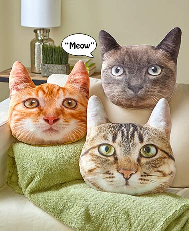 "15"" Photo Real Cat Pillow with Sound"