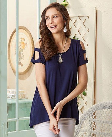 Ladder Sleeve Exposed Shoulder Top - Navy