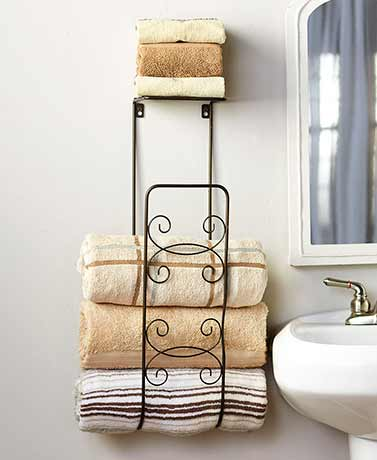 Wall Mounted Towel Organizer - Bronze
