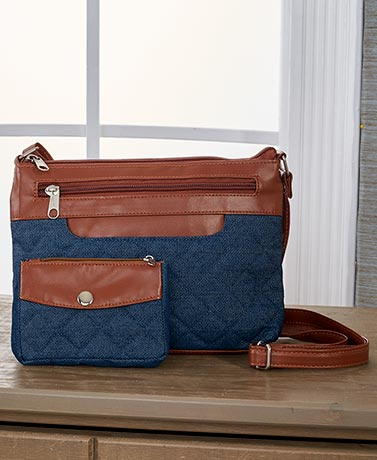 2-Pc. Fabric Crossbody Bag Set - Denim