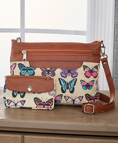 2-Pc. Fabric Crossbody Bag Set - Butterfly
