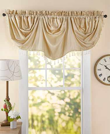 "86"" Wide Beaded Trim Imperial Valances"