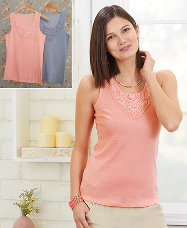 Sets of 2 Lace-Trim Knit Tanks