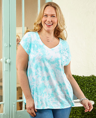 Women's Plus Embroidered Tie-Dye Knit Tops