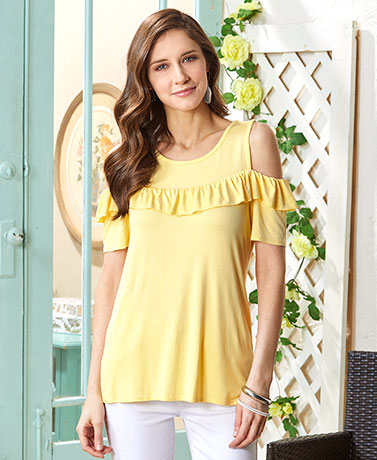Soft Pastel Ruffled Cold Shoulder Tops