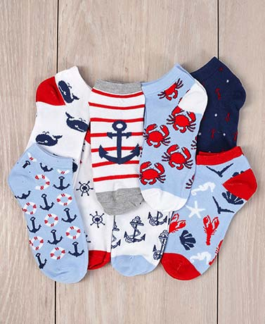 8-Pair Nautical Low-Cut Socks
