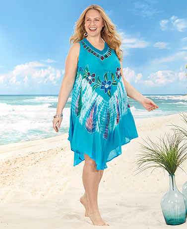 Women's Plus Embroidered Cover-Ups