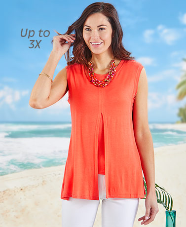 Double Layer Flyaway Tunic Top - Coral
