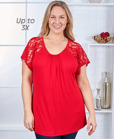 Women's Lace Sleeve Knit Tops - Red