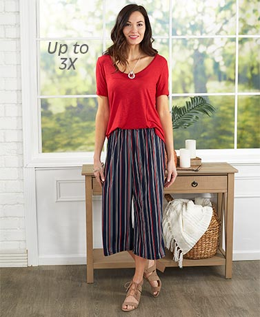 Printed Knit Wide Leg Capri Pant - Stripes