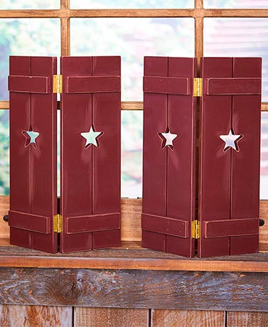 Set of 2 Country Window Shutters - Star