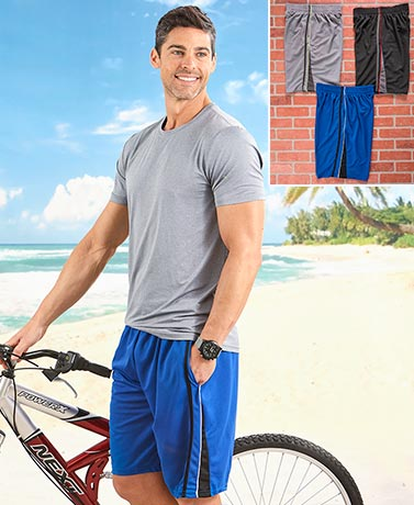 Men's Set of 3 Mesh Active Shorts - Dark