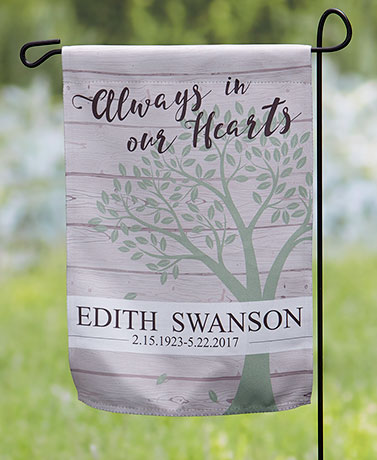 Always in Our Hearts Personalized Double-Sided Memorial Flag
