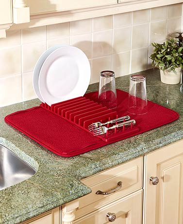 Cuisinart® Dish Drying Mat with Rack - Red