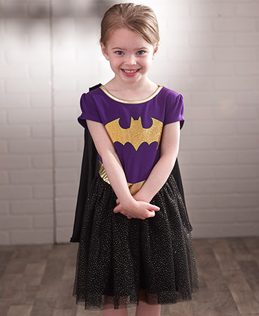 Girls' Superhero Dress with Removable Cape