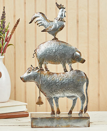 Metal Stacked Farm Animal Sculptures