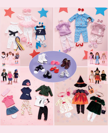 "Sets of 3 18"" Doll Outfits or Shoe Set"