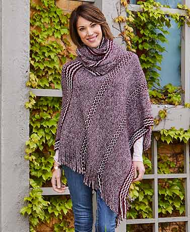 Sweater Knit Poncho and Scarf Sets