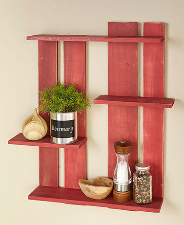 Country Red Wood Pallet Multi-Tier Wall Shelf