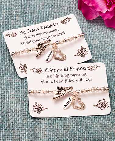 Sentiment Angel Charm Stretch Bracelets