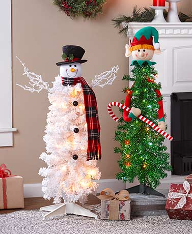 Lighted Character Christmas Trees
