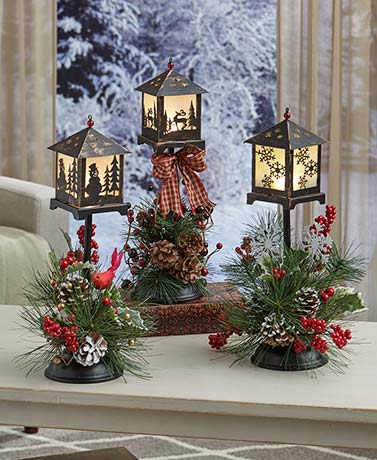 LED Holiday Lantern with Floral Accent