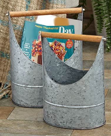 Set of 2 Galvanized Buckets with Handles