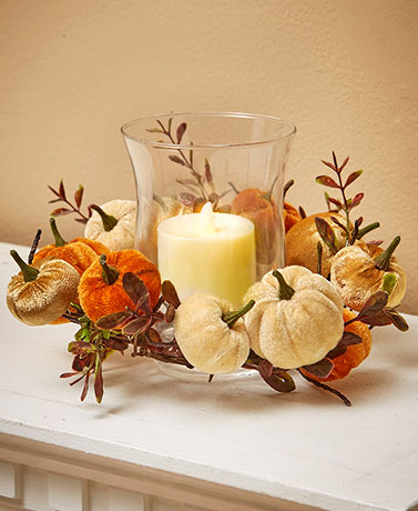 Lighted Velvet Pumpkin Candleholder