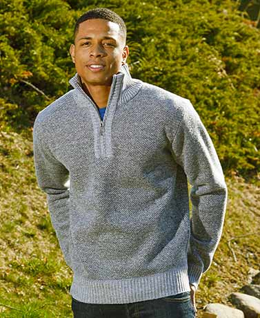 Gray Men's Fleece Lined 14-Zip Sweater