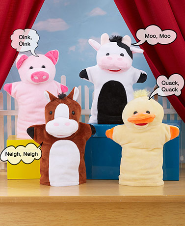 Sets of 4 Animal Hand Puppets with Sound